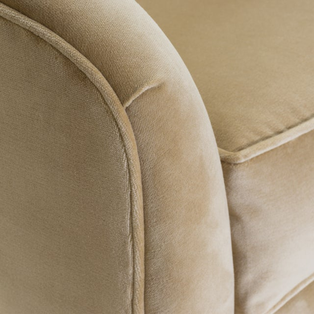 Gold Swivel Tub Chairs in Camel Velvet With Polished Brass Bases, Pair For Sale - Image 8 of 10