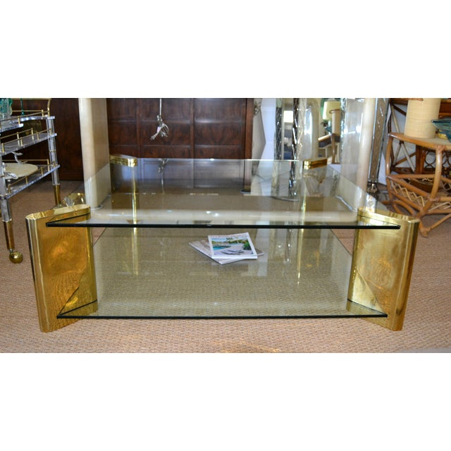 Karl Springer Mid-Century Modern Brass & 2-Tier Glass Coffee Table, Signed For Sale - Image 10 of 13