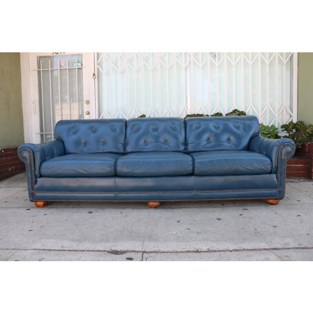Teal Leather Sofa - Image 2 of 11