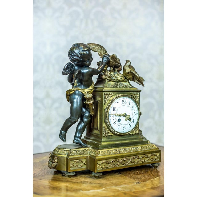 Metal French Mantel Clock Set, Circa 19th Century For Sale - Image 7 of 13