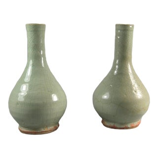 12th Century Song Dynasty Small Celadon Glazed Stoneware Vases - a Pair For Sale