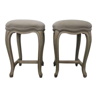 Pair French Painted Upholstered Stools For Sale