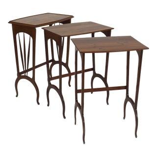 French Art Nouveau Walnut Rectangular Nest of Tables- 3 Pieces For Sale