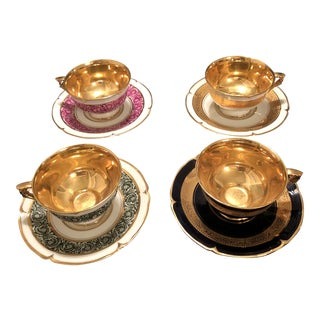 French Limoges 24 Karat Gold Plated Holiday Demitasse Set of Four For Sale