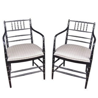 Regency Style Ebonized Armchairs - a Pair For Sale