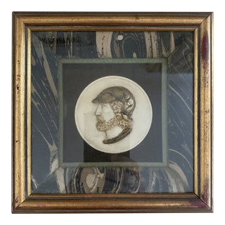 Antique Italian Framed Painted Miniature Grand Tour Plaster Cameo Silhouette Portrait Medallion For Sale