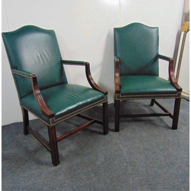 A Pair of Hickory Chair Company Chippendale style library chair, Solid mahogany frames , Marlboro legs, forest green...