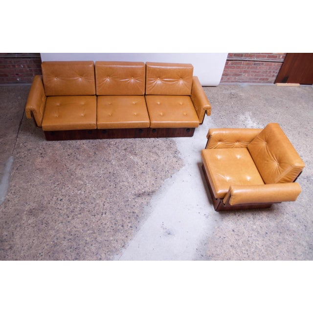 Danish Modern Brazilian Modern Rosewood and Leather Modular Sofa or Settees - 4 Pc. Set For Sale - Image 3 of 13