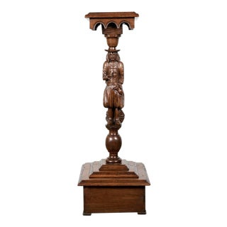 19th Century French Breton Carved Chestnut Figural Plant Stand For Sale