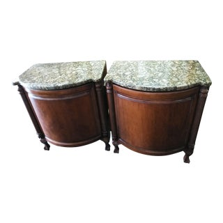 Granite Top Solid Wood Night Stands Cabinets - a Pair For Sale