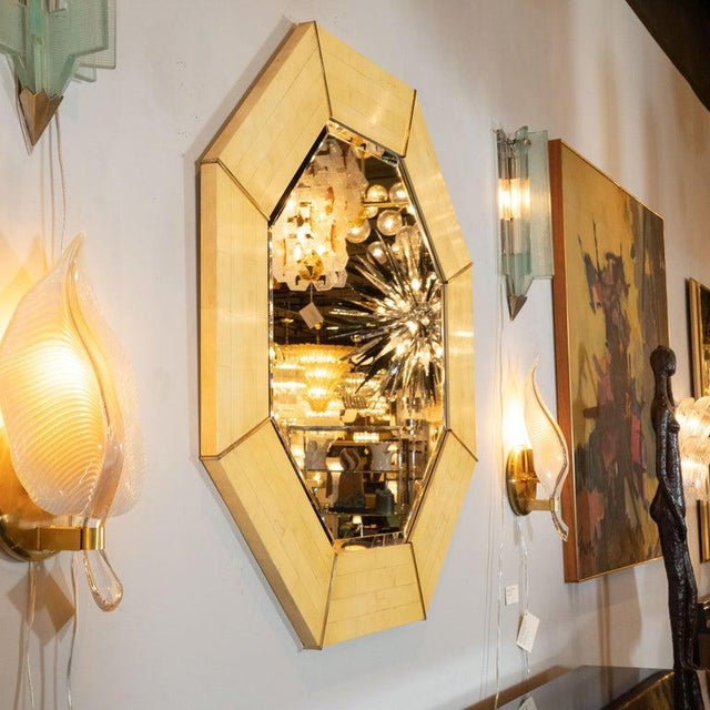 1980s Karl Springer Mid-Century Modern Marbleized Lacquer and Brass Octagonal Mirror For Sale - Image 5 of 6