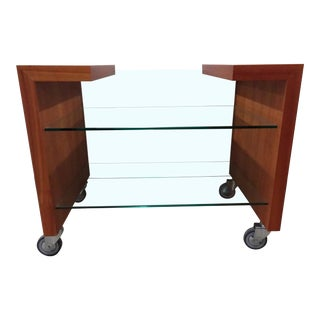 Modern Porada Tempered Glass and Cherry Bar Trolley For Sale
