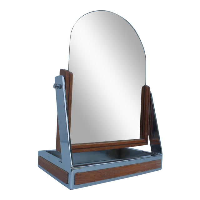 Chrome & Wood Vanity Mirror For Sale