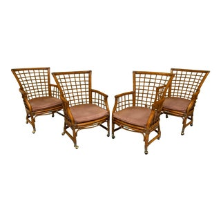 Rattan and Brass Dining Chairs - Set of 4 For Sale