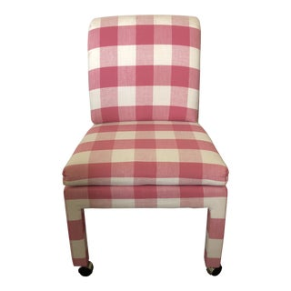 Pink Buffalo Check Rolling Office Chair For Sale