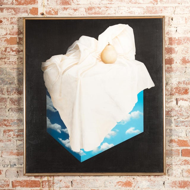 "Rene Magritte School ""Pear on a Cube of Clouds"" Surrealist still life oil painting.in the Style of Magritte , Large oil..."