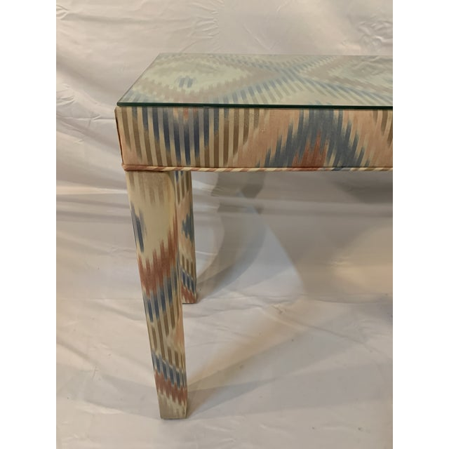 Cream Vintage Upholstered Parsons Console Table For Sale - Image 8 of 13