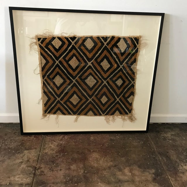 Antique diamond pattern African tapestry/Kuba cloth from the Congo. Made from raffia cloth with a pile center. New custom...