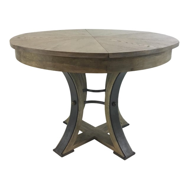 Sarreid Co. Modern Tower Jupe Extendable Gray Wood Dining Table For Sale