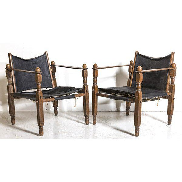 Danish Modern Arne Norell Style Safari Chairs, a Pair For Sale - Image 9 of 9