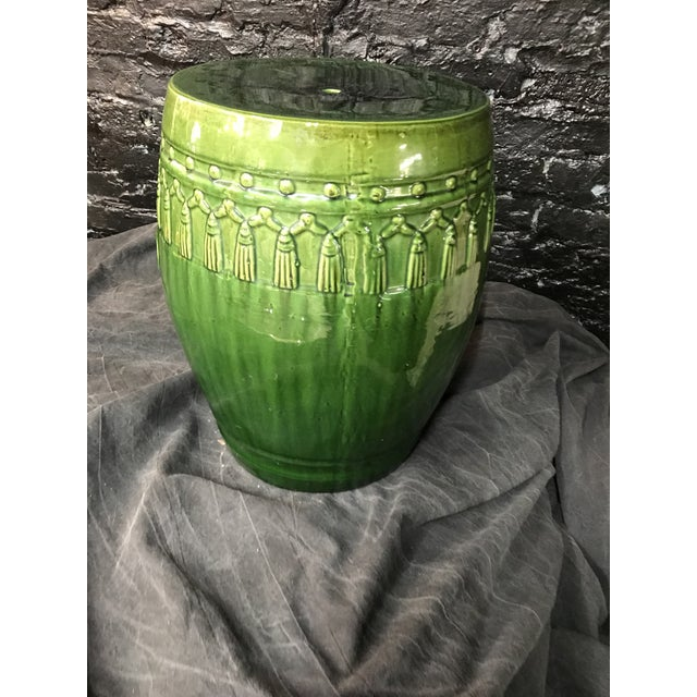 Green Glaze Tassel Garden Stool - Image 7 of 8