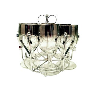 Dorothy Thorpe Style Wine Goblets & Carrier - Set of 6 For Sale