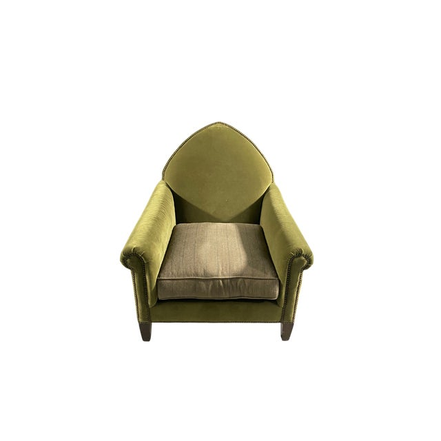 Metal Luxe Green Velvet Gothic Chair With Nailhead Trim and Plaid Seat. For Sale - Image 7 of 7