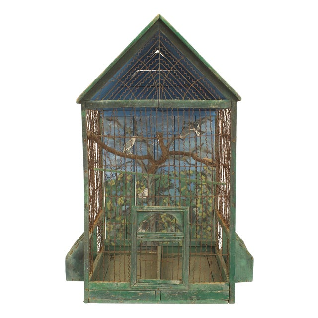 Rustic English Country Victorian Green Painted and Wire Birdcage For Sale