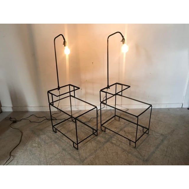 Mid-Century Wrought Iron Table & Lamp Combo in the Style of Weinberg, McCobb For Sale - Image 9 of 13