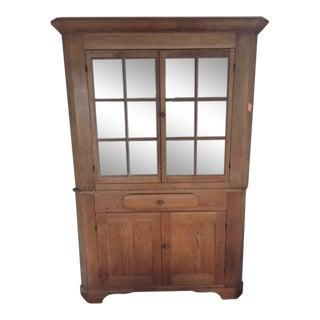 American Antique Pine Corner Cupboard For Sale