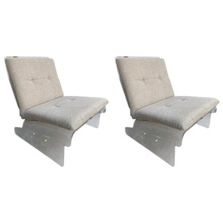 Pair of Lucite Slipper Armchairs by Baumann, Germany, 1970s For Sale
