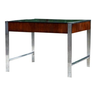 1960s Milo Baughman Mid-Century Smoked Glass and Chrome End Table For Sale