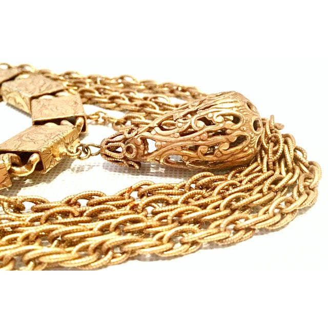 20th Century Art Nouveau Gold Book Chain Choker Style Necklace & Earrings - Set of 3 For Sale - Image 4 of 13