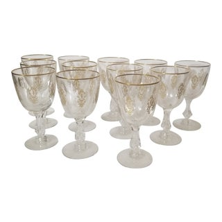 Antique Crystal Goblets With Gold For Sale
