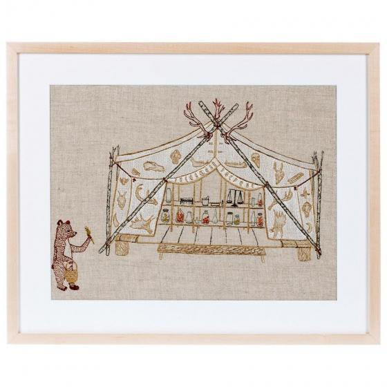 Tent and Bear Framed Textile Art - Image 2 of 3