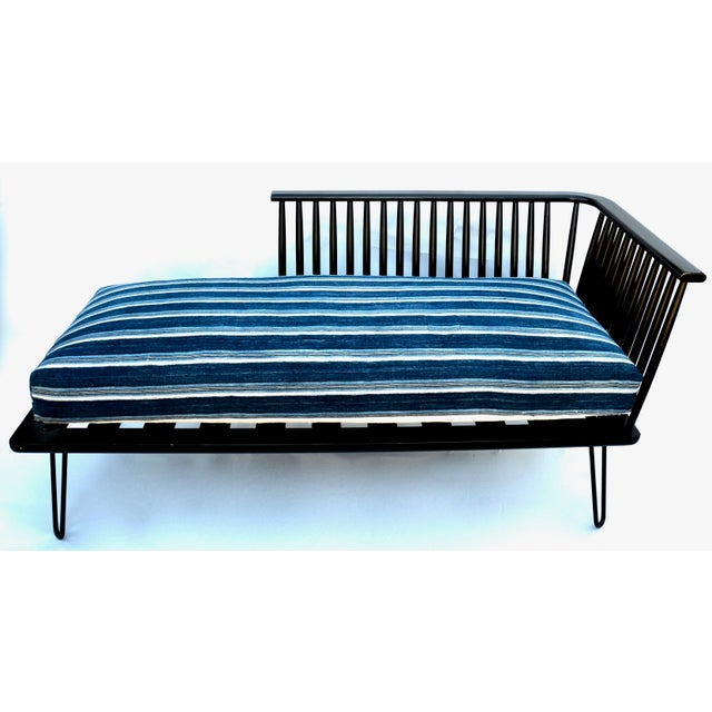 Mid-Century Modern Daybed Settee With African Upholstery For Sale - Image 9 of 9