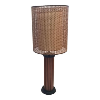 Mid Century Wooden Double Shade Table Lamp For Sale