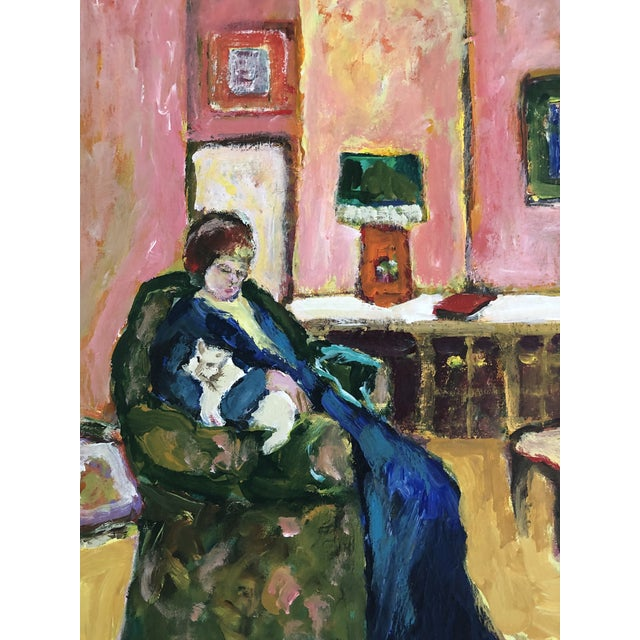 1980s Woman With Cat Oil Painting For Sale - Image 4 of 6