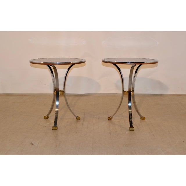 Mid-Century Mahogany and Chrome Side Tables - a Pair For Sale - Image 4 of 12
