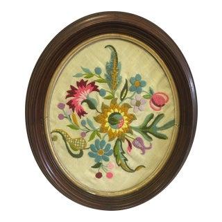 Framed Vintage Embroidery For Sale