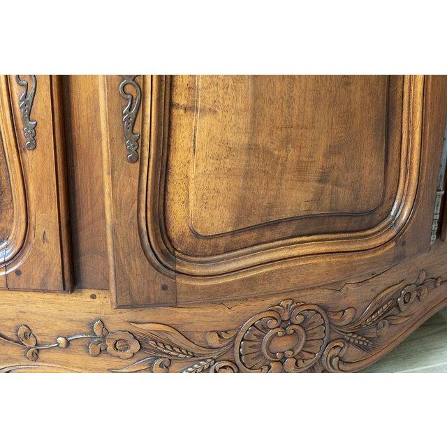Metal Antique French Walnut Enfilade 3-Door Sideboard For Sale - Image 7 of 11