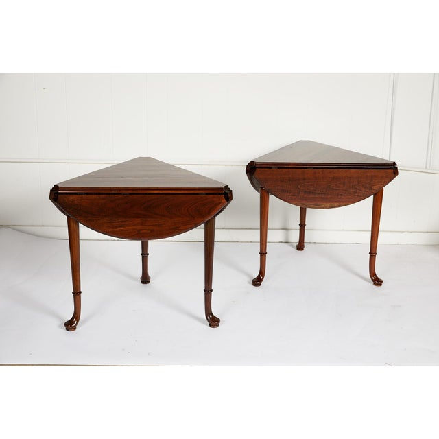 Pair of Vintage Statton Drop Leaf Tea Tables of Solid Cherry For Sale - Image 10 of 12