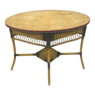Antique Victorian Wicker Oval Table For Sale