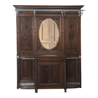 19th Century French Louis XVI Walnut Hall Tree For Sale