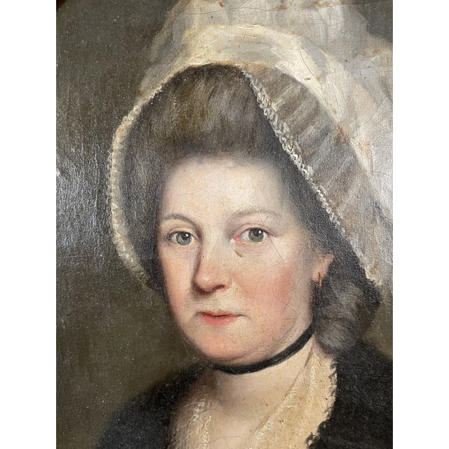 Circa 1780 English Oil on Canvas Portrait of a Lady. Attributed to the painter, John Russell (1745-1806). Period gilt wood...