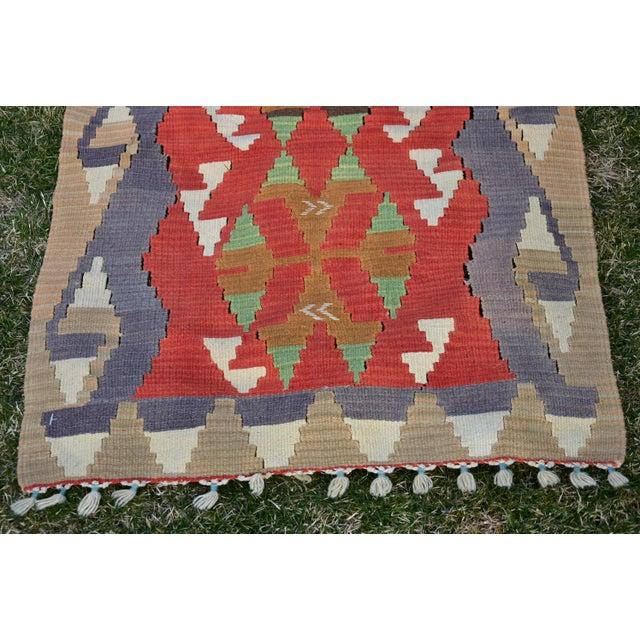 Textile Turkish Traditional Handwoven Anatolian Nomadic Rustic Style Oushak Kilim Rug For Sale - Image 7 of 13