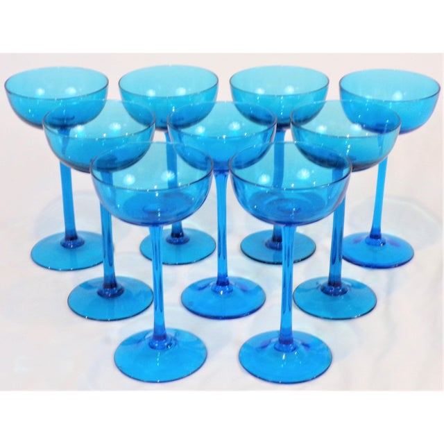 Glass 1960's Italian Blue Champagne Coupes - Set of 9 For Sale - Image 7 of 9