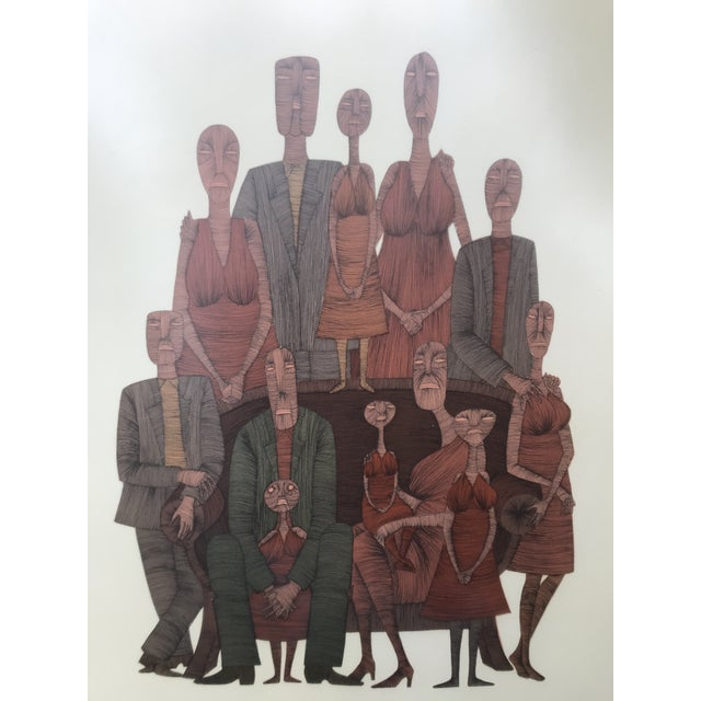 Vintage Mid-Century Abstract Family Portrait Print Block Print Lithograph Signed And Numbered Amazing Vintage Find...