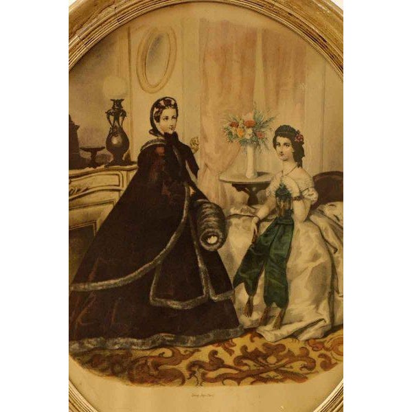 Traditional Framed Oval Victorian Print For Sale - Image 3 of 6