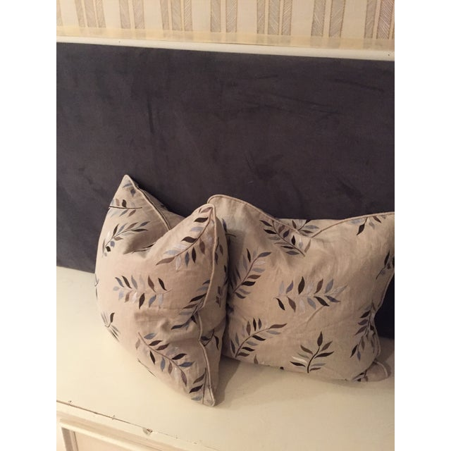 Autumn leaves and a beige background. Linen fabric with embroidered leaves delicate sweet great for any sofa or bedding...